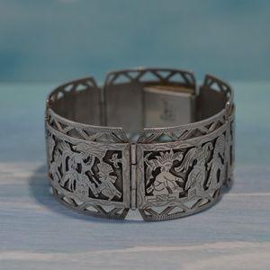 Vintage .900 Folkloric Storyteller Panel Bracelet